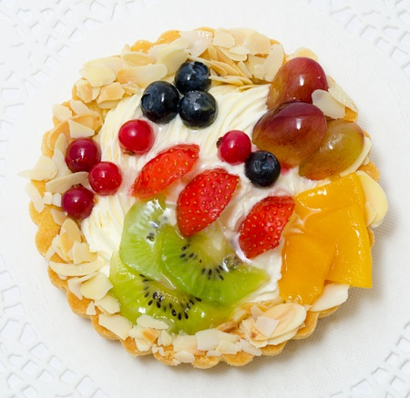 sponge cake: a fresh fruit and berry cake - a top view