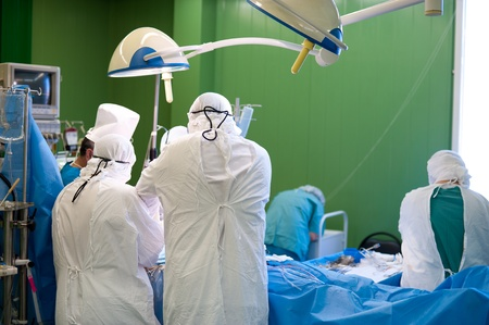 a real surgical operation in a green room Stock Photo - 11930275
