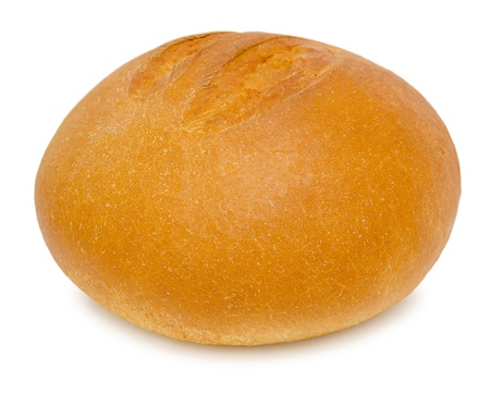 a round loaf of fresh wheat bread photo