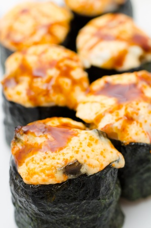 hot sushi rolls with cheese and soy sauce, macro Stock Photo - 12540586