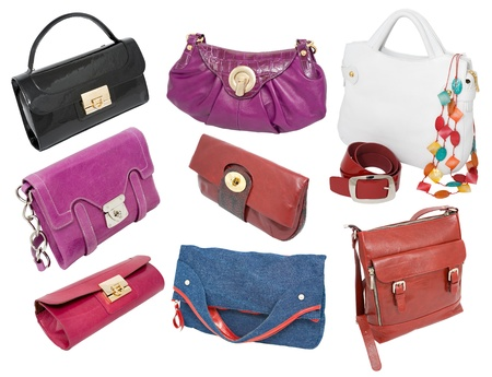 a set of different ladies handbags and purses photo