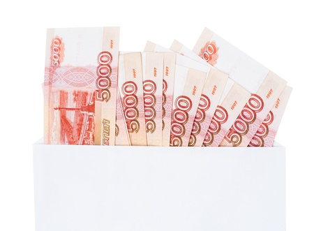 encash: many 5000 rouble bills (the biggest Russian note) in an envelope