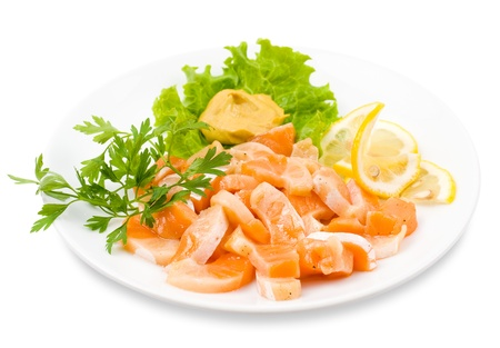 shallow focus: cut salmon served with lemon and mustard Stock Photo