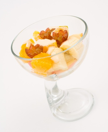 seasoned: dessert - fresh cut fruit seasoned with yoghurt Stock Photo