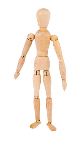inanimate: a wooden man, isolated over white background