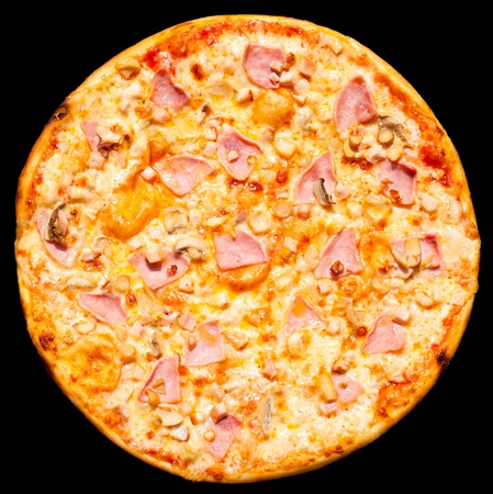 a fresh pizza with ham and mushrooms, isolated, top view photo