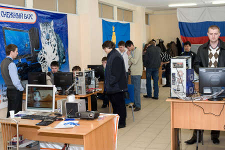 ulan ude: ULAN-UDE, RUSSIA - MARCH 28: The 1st Open City Overclocking Contest. Participants compete, March, 28, 2010 in Ulan-Ude, Buryatia, Russia.