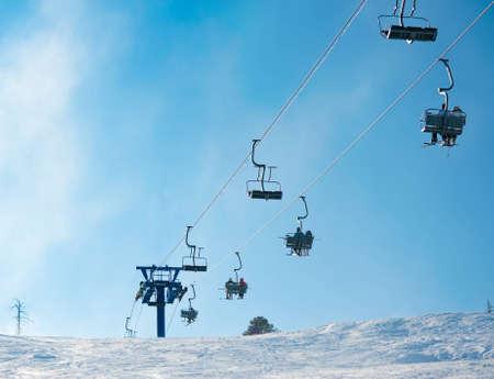 a ski lift at a ski resort Stock Photo - 12540712
