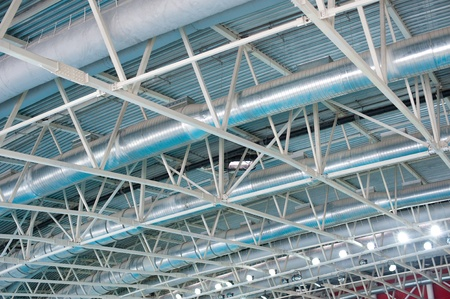 air duct: a system of ventilation pipes under stadium ceiling