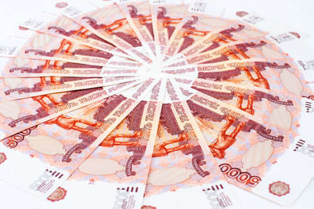 ruble: many 5000 rouble bills (the biggest Russian note) in a circle Stock Photo