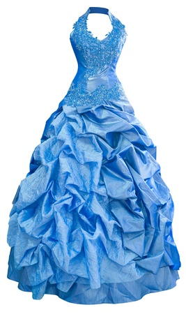 puffed: a ladies blue satin evening dress with a puffed skirt