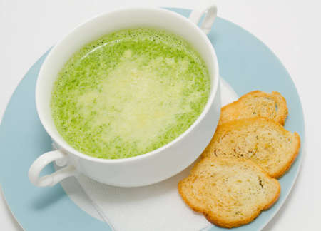 spinage: a spinach cream soup with wheat croutons
