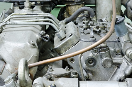 inoperative: an outdated engine for automobile vehicles, closeup