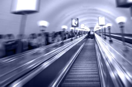 blurring: escalators in a metro, a radial blurring Stock Photo