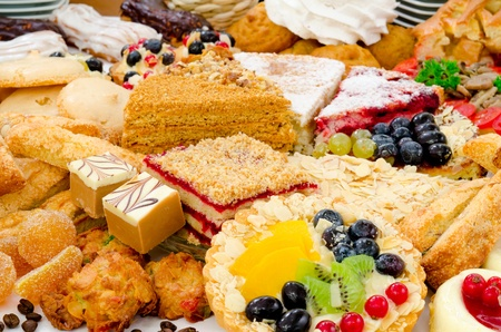 kinds: many different kinds of dessert - cakes, sweets and pies