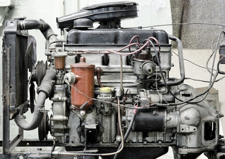autos: an old outdated engine, a closeup shot Stock Photo