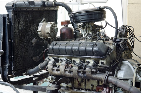 inoperative: an old outdated engine, a closeup shot Stock Photo