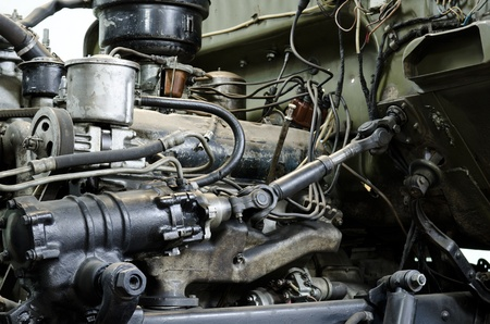hydraulic: an old outdated engine, a closeup shot Stock Photo