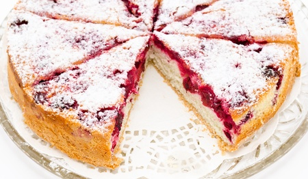 a fresh cherry charlotte cake - a closeup shot Stock Photo - 13117373