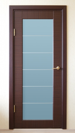 wooden insert: a brown wooden door with a glass insert