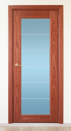 wooden insert: a brown wooden door with a vertical glass insert
