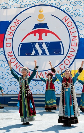 UULAN-UDE, RUSSIA - JULY 16  The 4th General Session of the World Mongolians Convention  Artists of Buryat state song and dance company  Baikal  perform on July 16, 2010 in Ulan-Ude, Buryatia, Russia  Stock Photo - 13182573