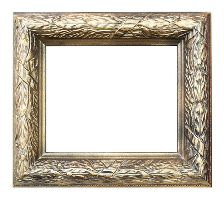 woodcarving: a wooden frame, floral woodcarving, golden paint Stock Photo