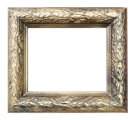 tallado en madera: un marco de madera, talla de madera floral, pintura dorada Foto de archivo