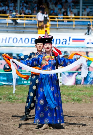 naadan: ULAN-UDE, RUSSIA - JULY 17  The 4th General Session of the World Mongolians Convention, July 17, 2010 in Ulan-Ude, Buryatia, Russia  Dancers open the event with a welcome dance