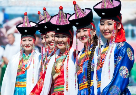 mongol: ULAN-UDE, RUSSIA - JULY 17  The 4th General Session of the World Mongolians Convention, July 17, 2010 in Ulan-Ude, Buryatia, Russia  Dancers women wait for their performance