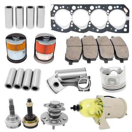 spare car: some auto spare parts, isolated over white