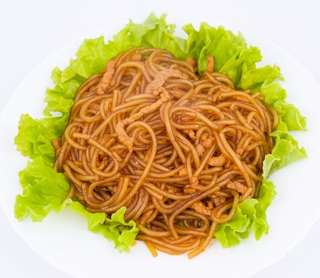 chinese cuisine - noodles and pork in sour sweet sauce Stock Photo - 13324231