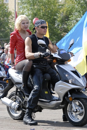 tight fitting: ULAN-UDE, RUSSIA - SEPTEMBER 6  Unidentified bikers take part in the festive parade devoted to annual City Day, September 6, 2008 in Ulan-Ude, Buryatia, Russia