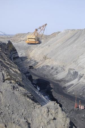 TUGNUI, RUSSIA - APRIL 2  The opening of Tugnuiskaya coal preparation plant   A mining hauler moves along a coal pit, April, 2, 2008 in Tugnui, Buryatia, Russia