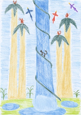 a kids drawing - a waterfall in tropics photo