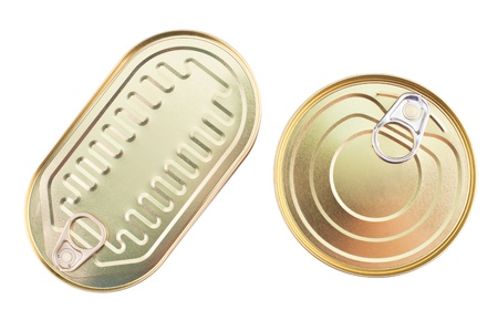 tin can: an oval can and a round one, with keys, clipping path