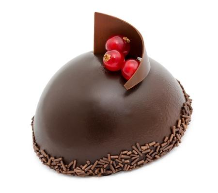 hemisphere: a fresh chocolate cake, over white background Stock Photo