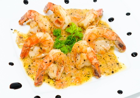 shrimps seasoned with onion and soy sauces Stock Photo - 13681458