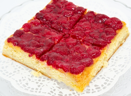 a fresh raspberry cheese cake - a closeup shot Stock Photo - 13745534