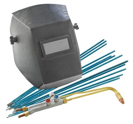soldadura: un escudo libre, electrodos de soldadura y una boquilla de una aut�gena - herramientas de soldador Foto de archivo