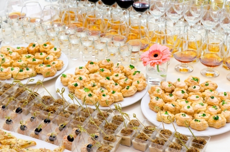 a lot of cold snacks on buffet table, catering Stock Photo - 13798579