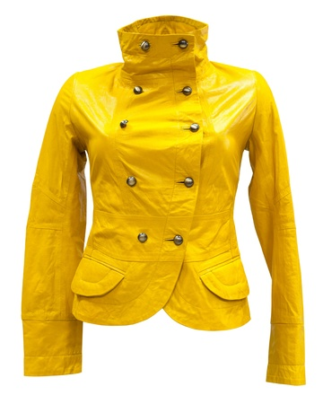 double breasted: a leather yellow womens jacket