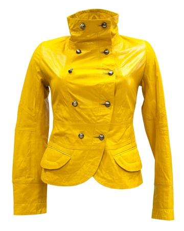 double breasted: una chaqueta de mujer de cuero amarillo