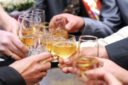 hands make cheers with glasses of champagne Stock Photo