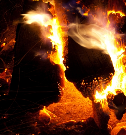 firing: burning logs in a camp fire at night