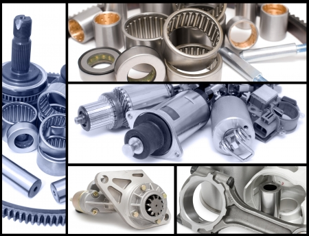 spare parts: many different auto car spare parts, a collage