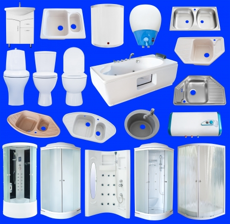 a set of new bathroom equipment  sanitaryware , isolated over blue photo