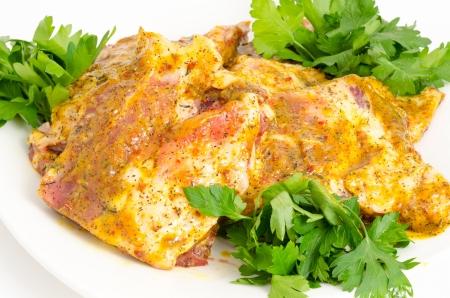 pork under hot mustard sauce - prepared food Stock Photo - 13931345