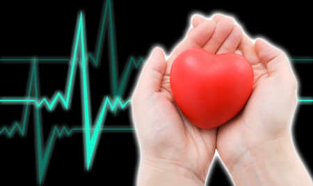 a red heart in caring female hands, a cardiogram in the black background
