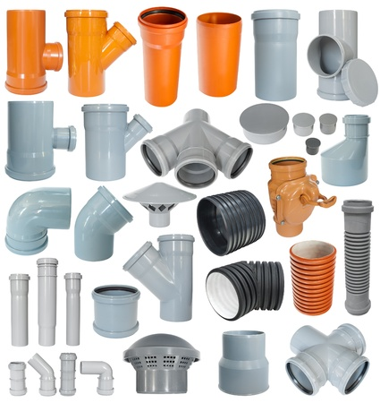 sewer pipe: many pvc draining fittings in a set, isolated